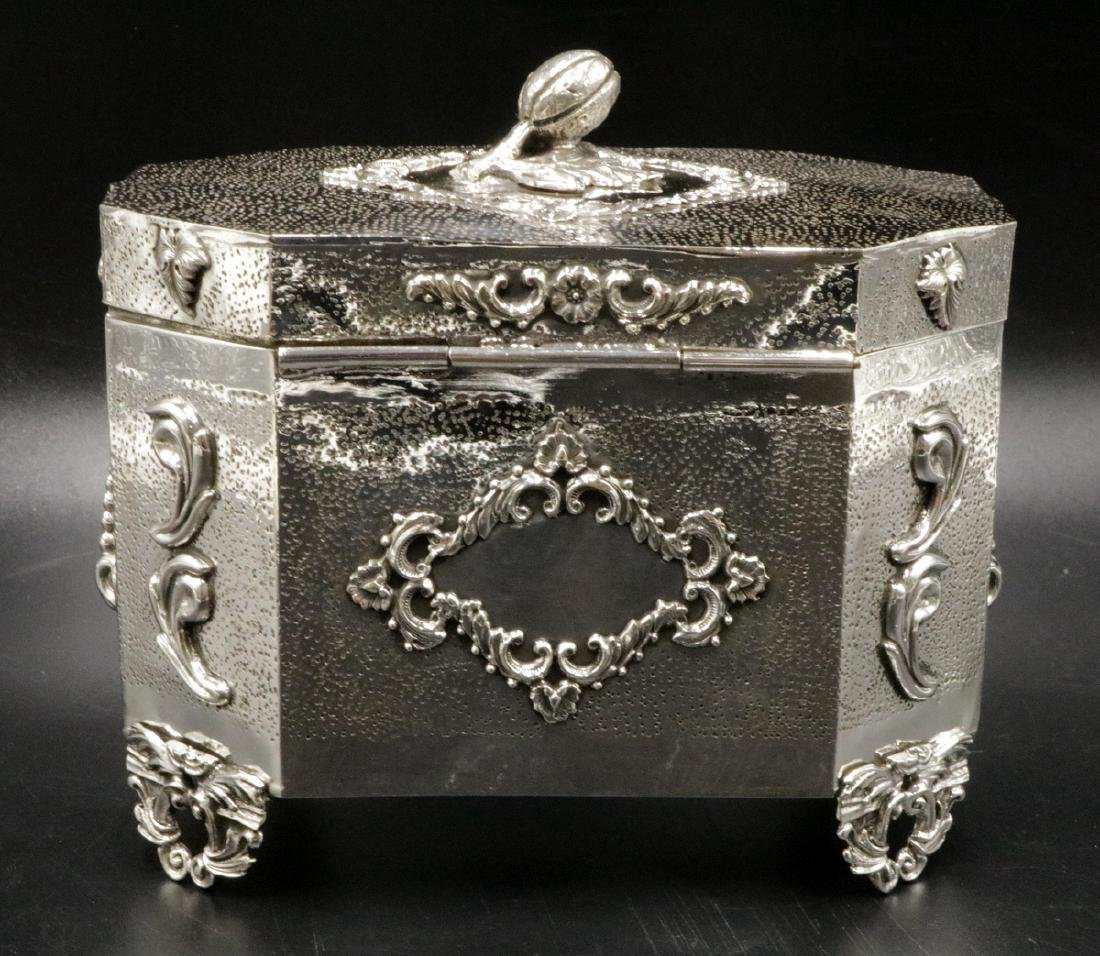 Rare Judaica Sterling Silver Tea Caddy - 6