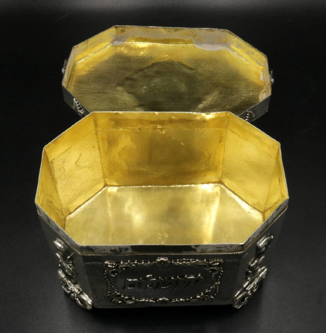 Rare Judaica Sterling Silver Tea Caddy - 7