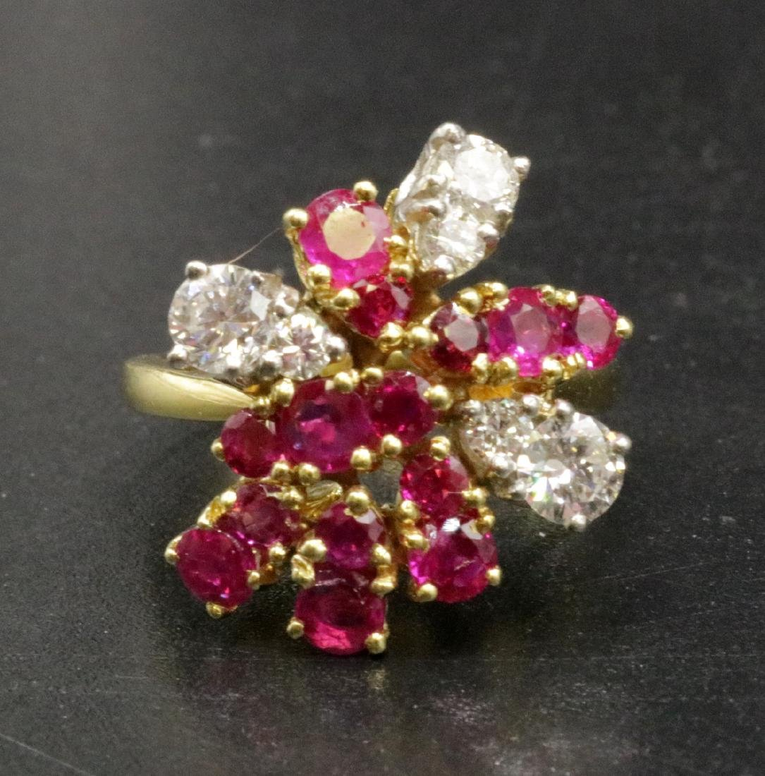 Platinum & 18Kt YG Ruby, Diamond Ring