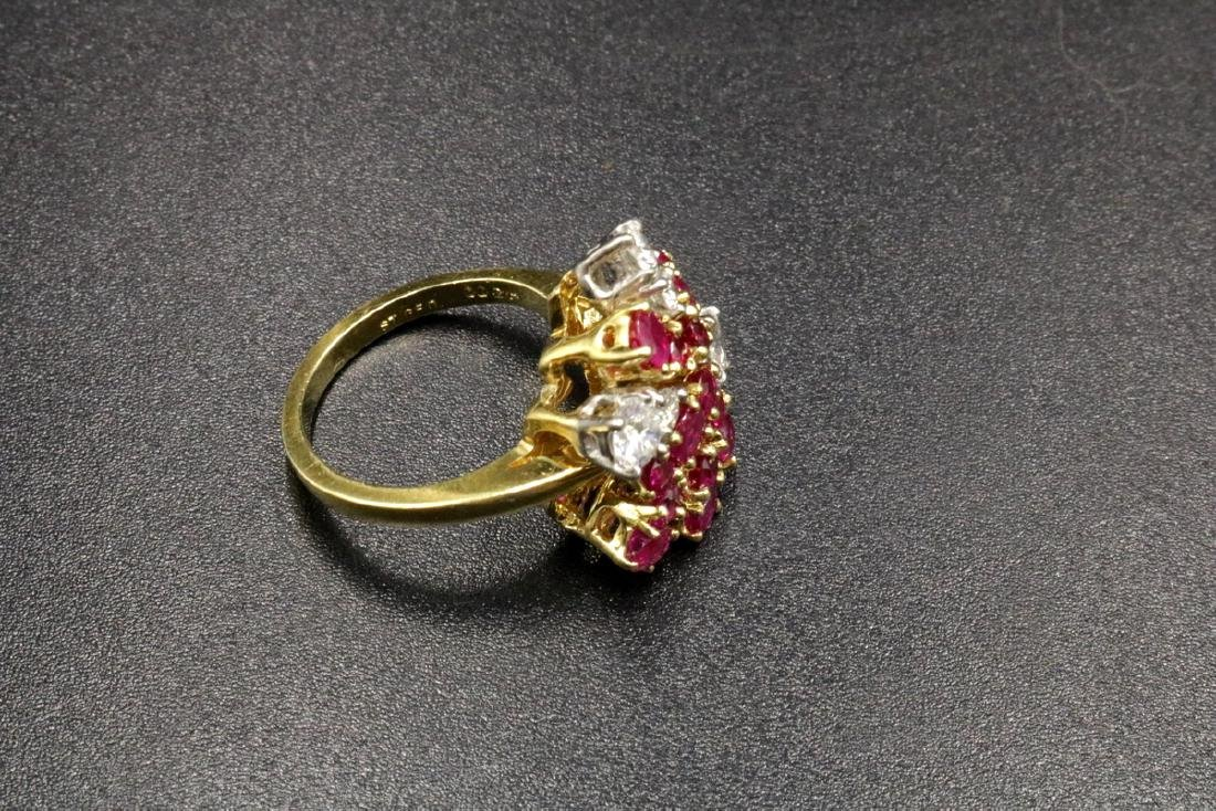 Platinum & 18Kt YG Ruby, Diamond Ring - 2