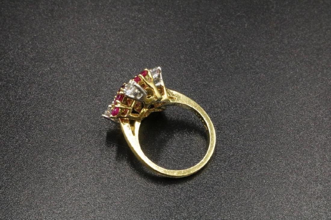 Platinum & 18Kt YG Ruby, Diamond Ring - 3