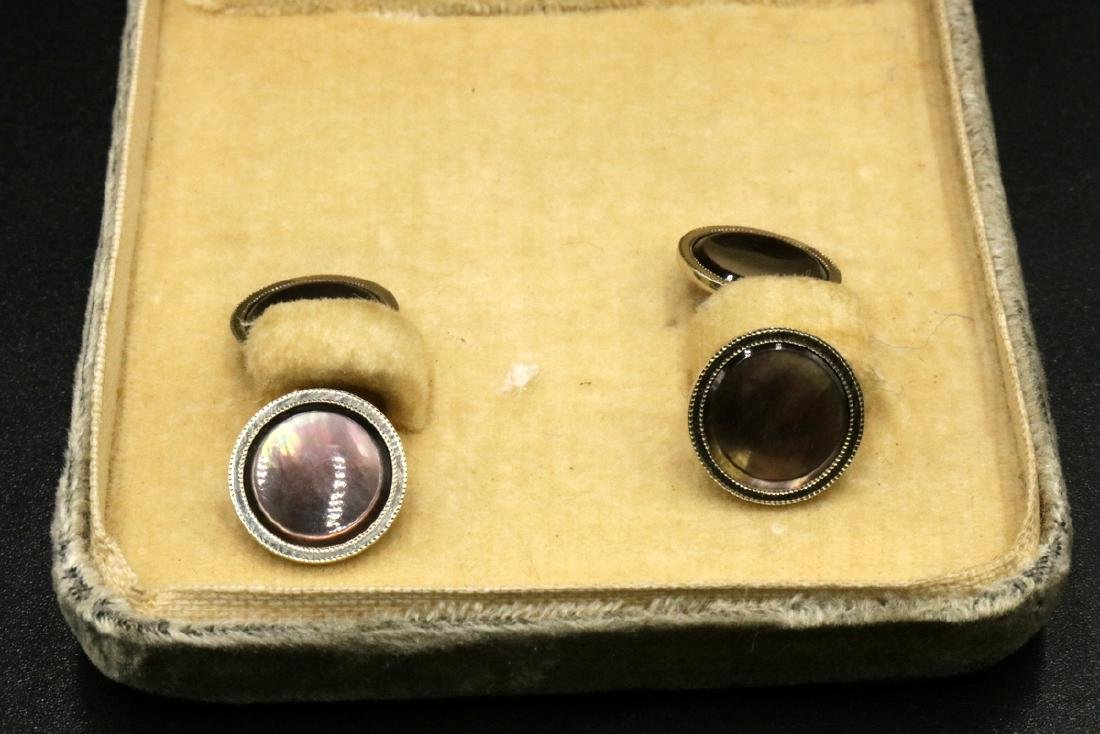 Mandel Brothers 10Kt YG & Abalone Cufflinks & Tie Set - 2