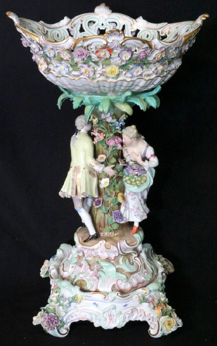 Late 19th C. Meissen Hand Painted Porcelain Compote