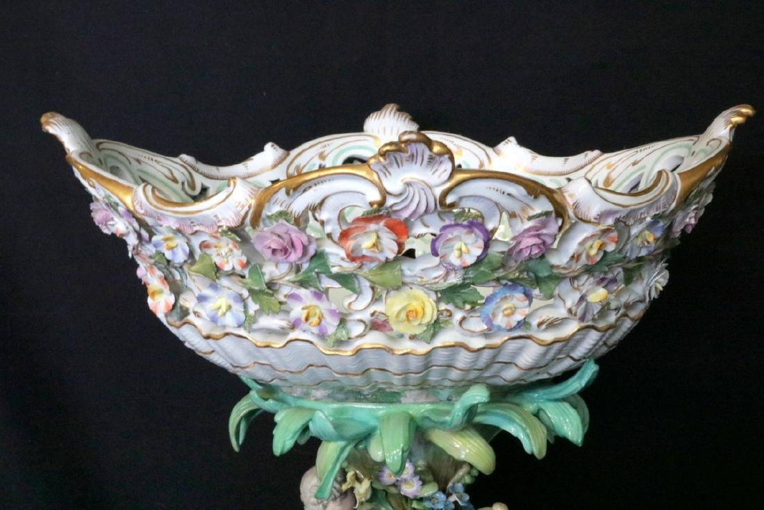 Late 19th C. Meissen Hand Painted Porcelain Compote - 2