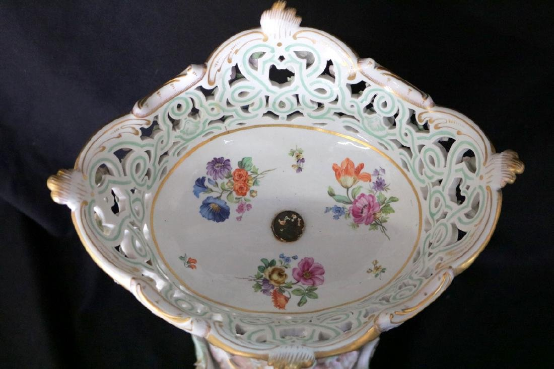 Late 19th C. Meissen Hand Painted Porcelain Compote - 8