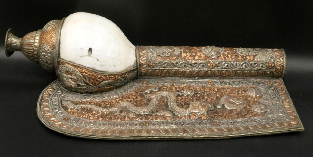 Old Tibet Bronze/Silver Inlay Conch Shell Royal Horn