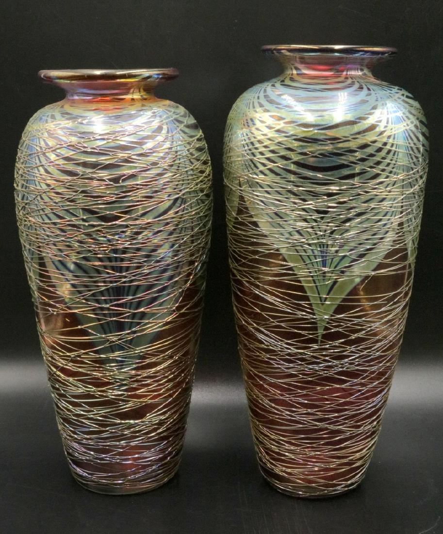 Pair of Stuart Abelman Cranberry Art Glass Vases