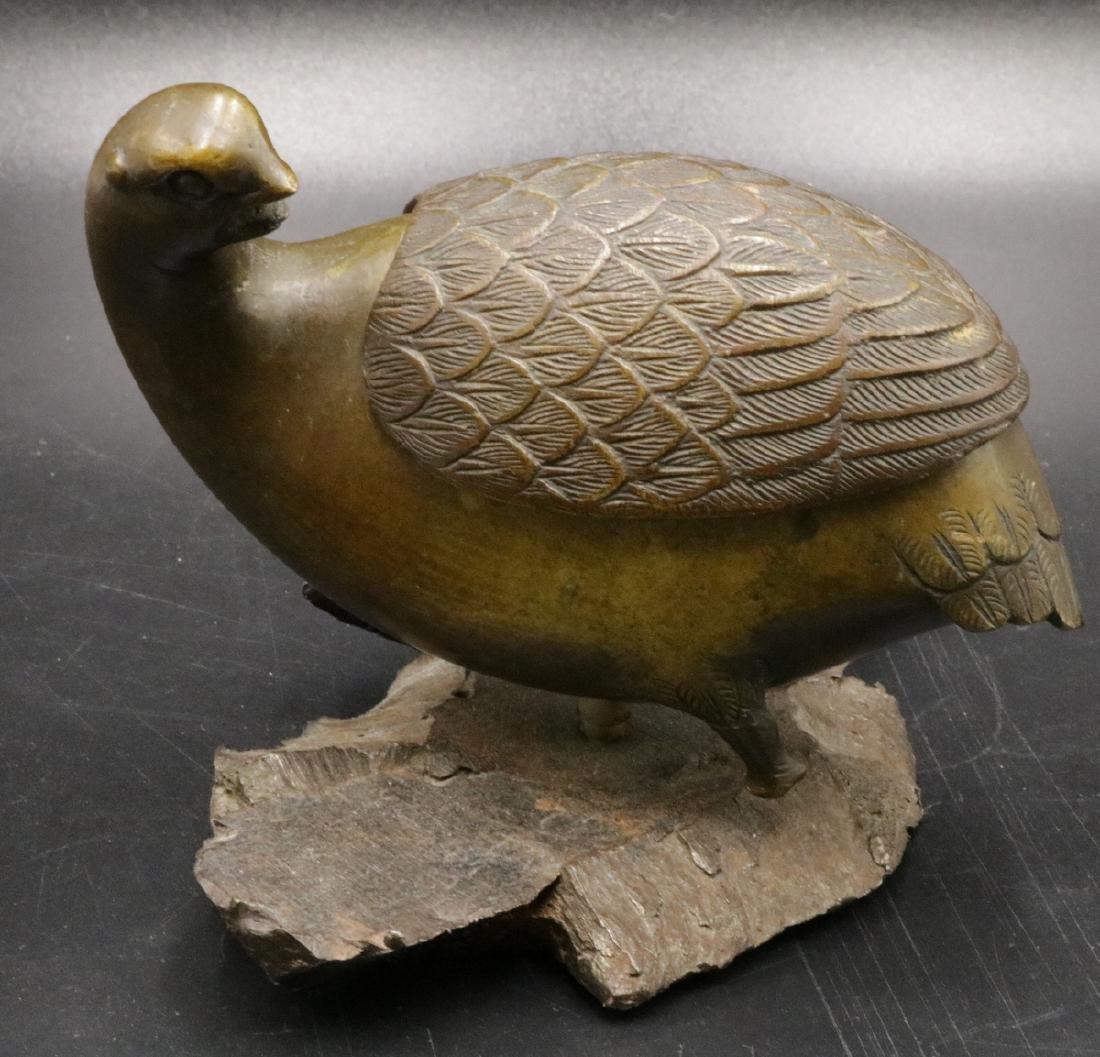 Signed Chinese Bird Bronze Cartridge