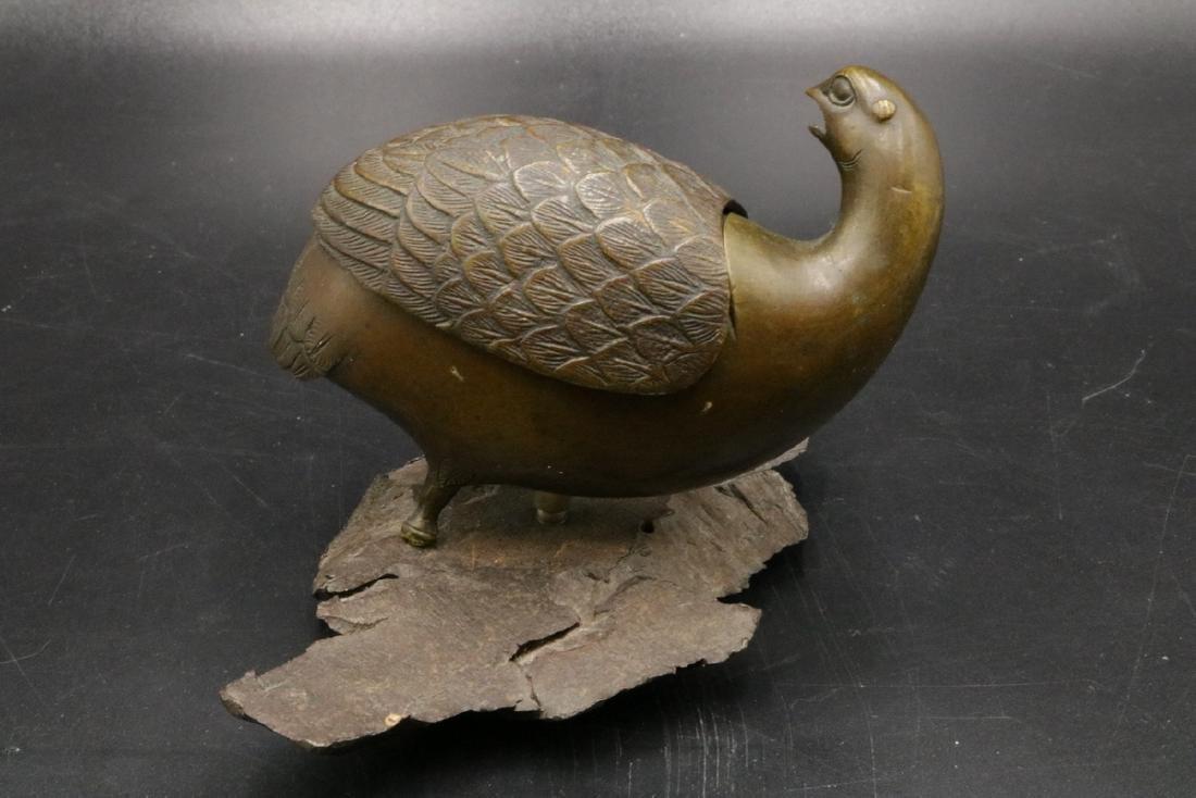Signed Chinese Bird Bronze Cartridge - 2