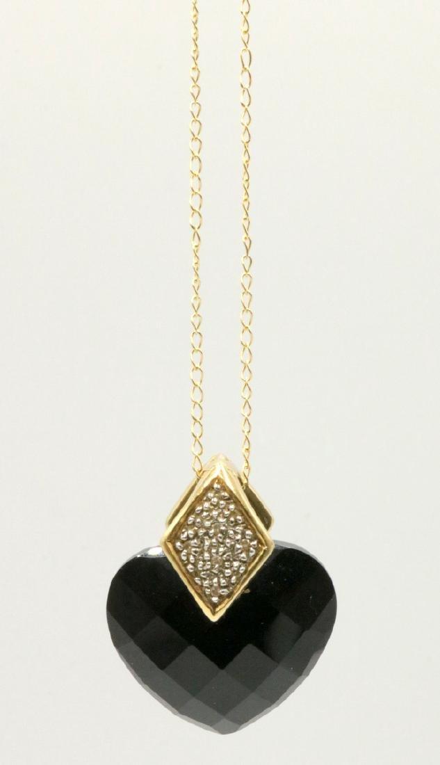 14Kt YG Black Onyx Heart & Diamond Pendant w/ Necklace