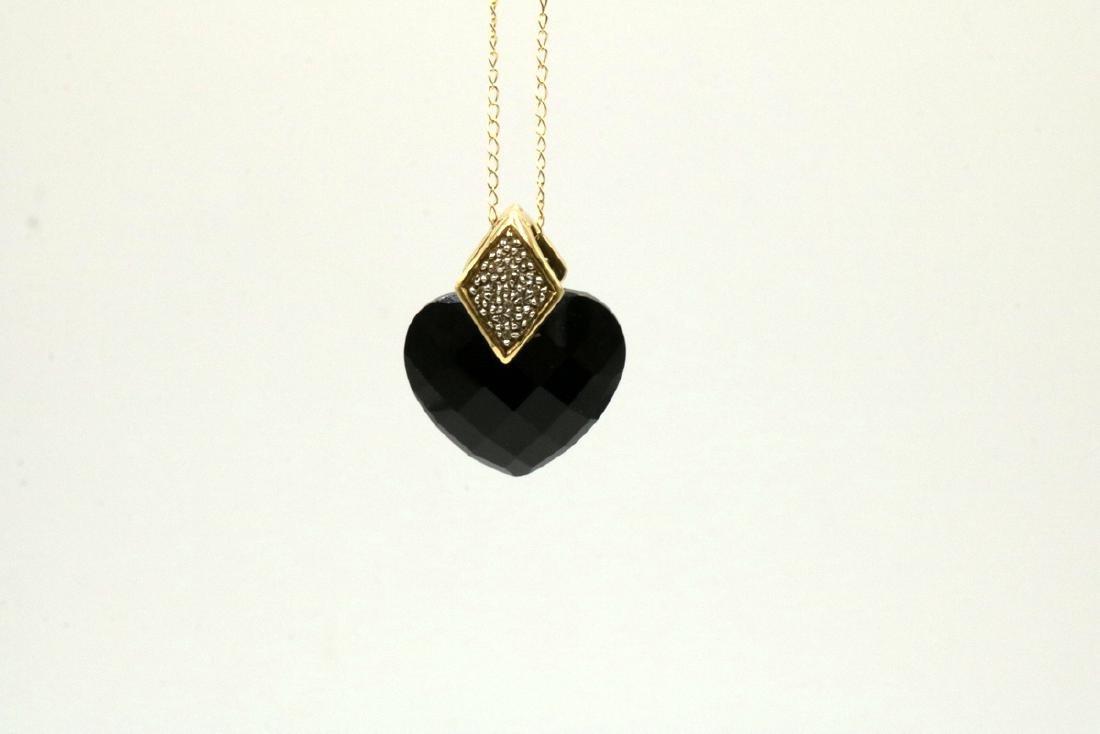 14Kt YG Black Onyx Heart & Diamond Pendant w/ Necklace - 2