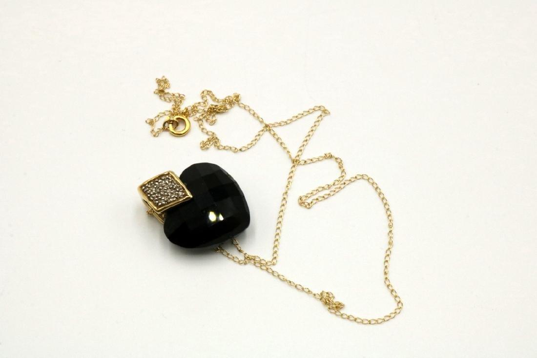 14Kt YG Black Onyx Heart & Diamond Pendant w/ Necklace - 3