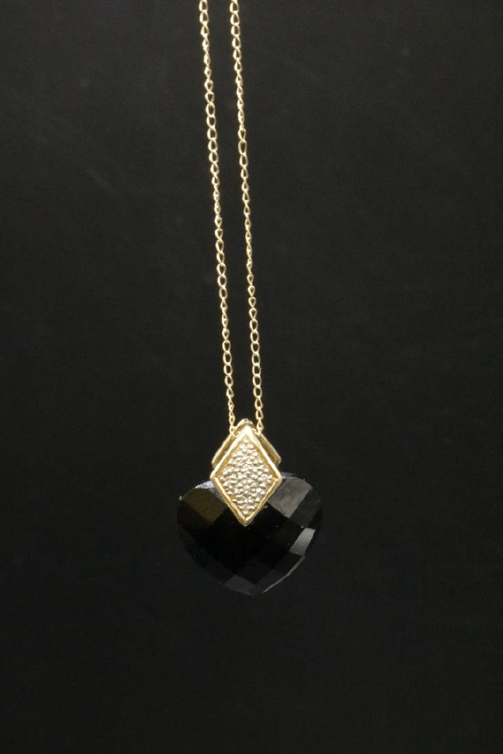 14Kt YG Black Onyx Heart & Diamond Pendant w/ Necklace - 4