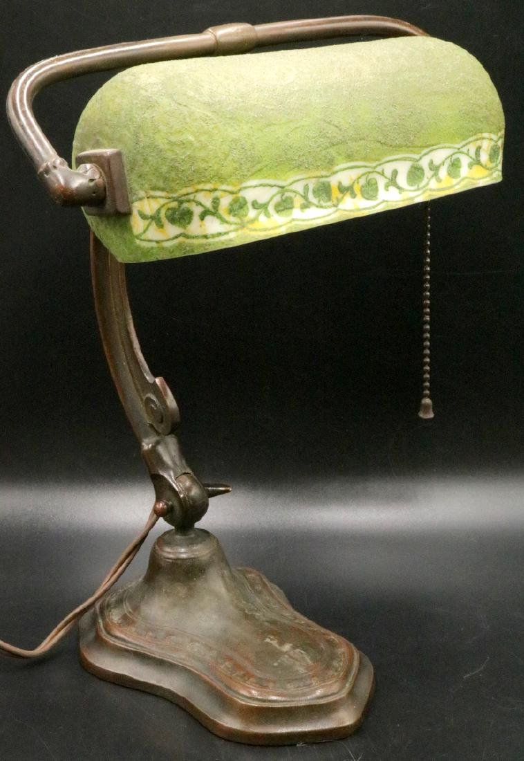 Handel Green Mosserine Glass & Bronze Desk Lamp