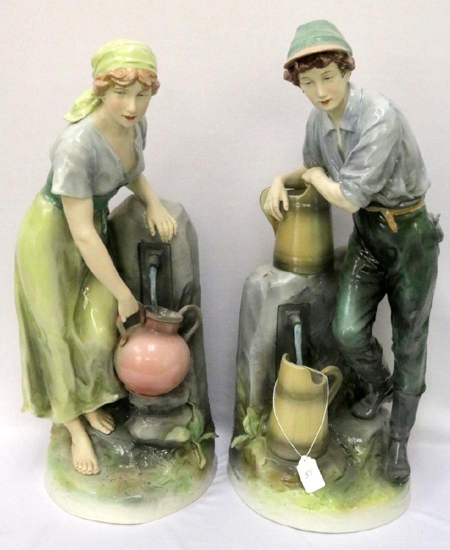 Pair of Royal Dux Hand Painted Porcelain Figures