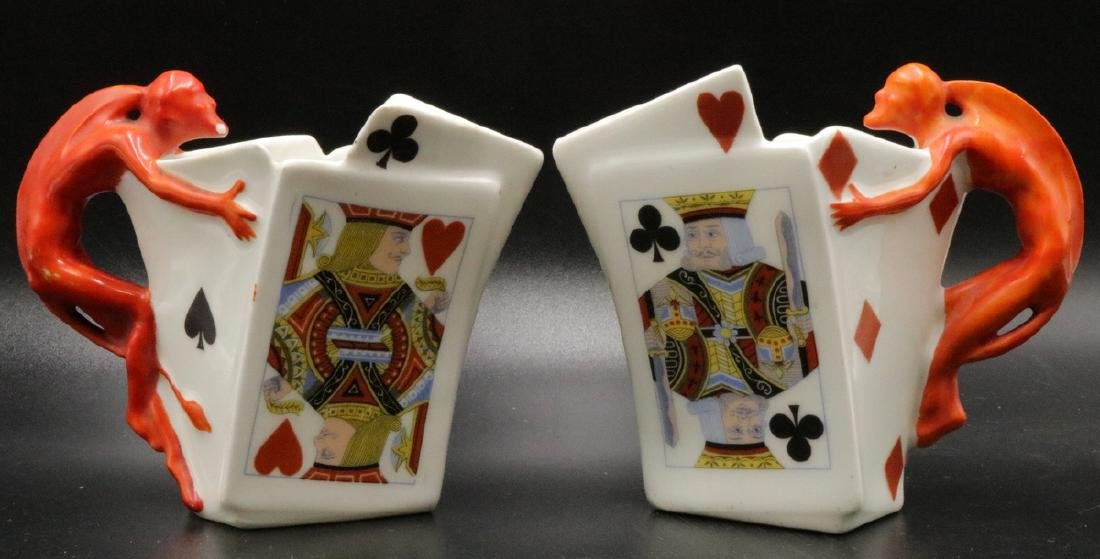"Royal Bayreuth ""Devil & Card"" Porcelain Creamers"