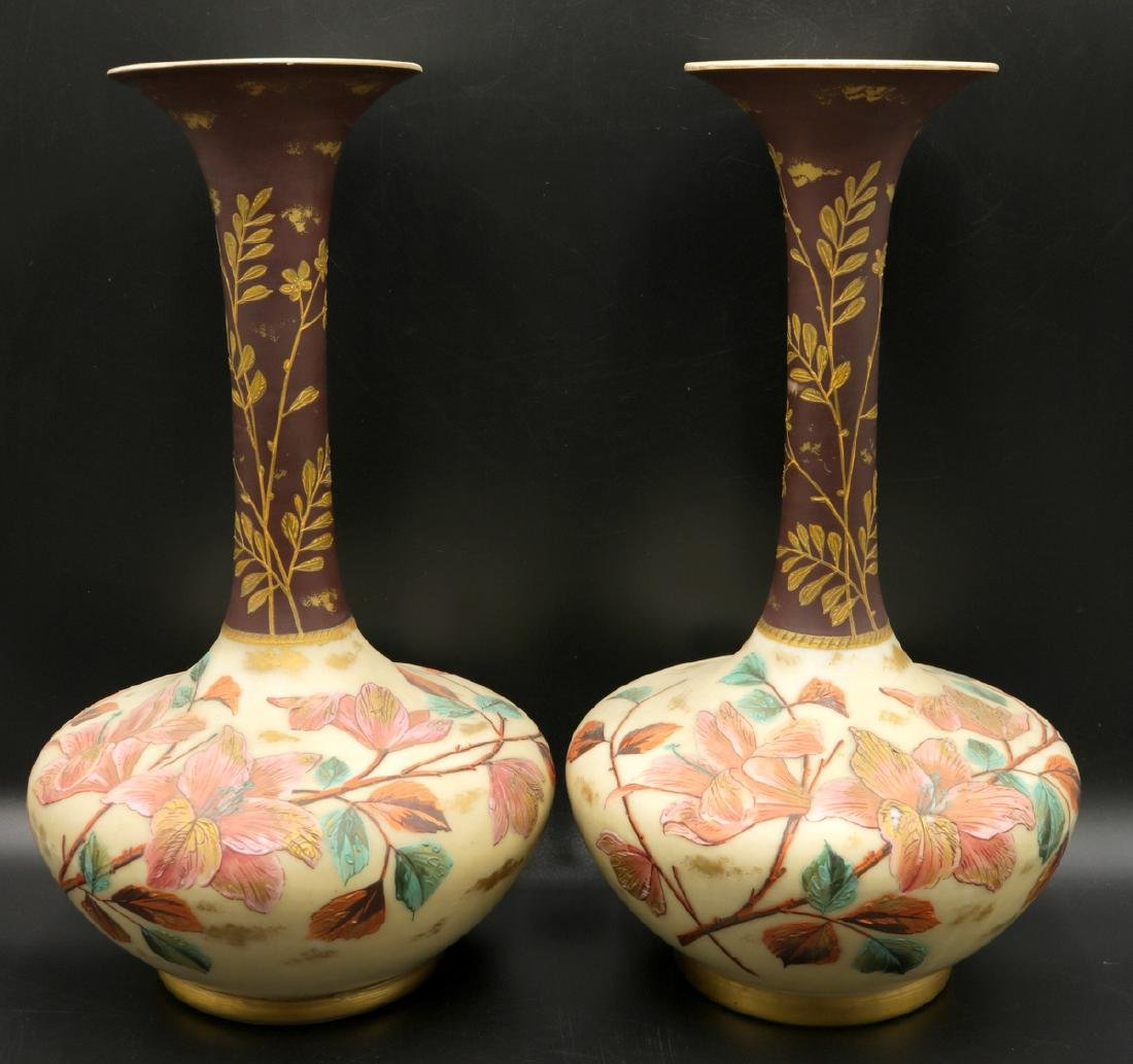 Antique English Hand Painted Bristol Glass Fluted Vases