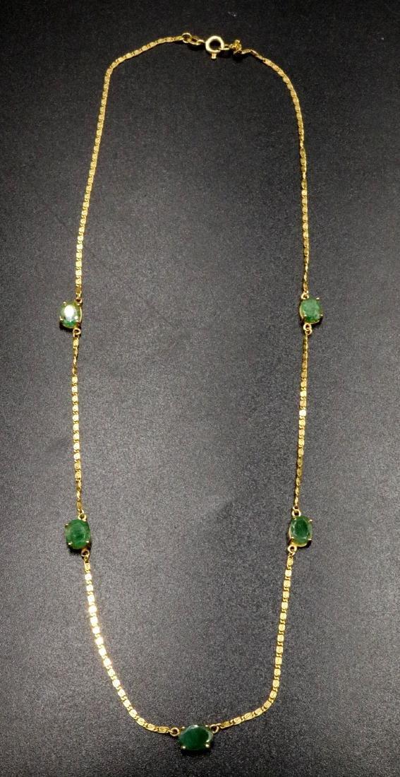 18Kt YG Emerald Necklace