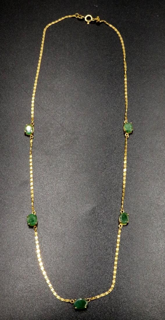 18Kt YG Emerald Necklace