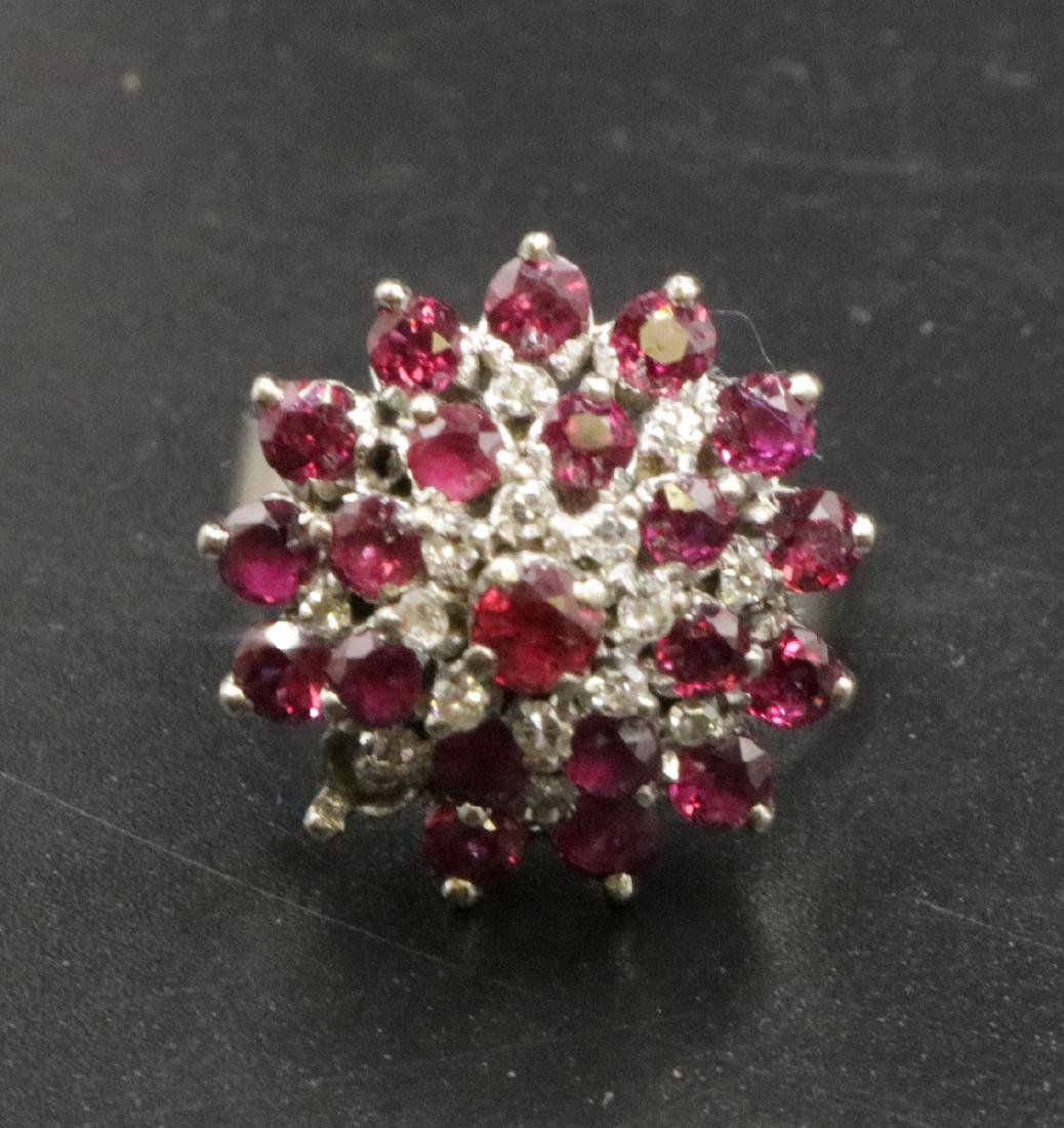 18Kt WG Diamond & Ruby Ring