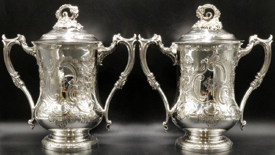 19th C. Elkington & Co. Silver Plated Covered Urns
