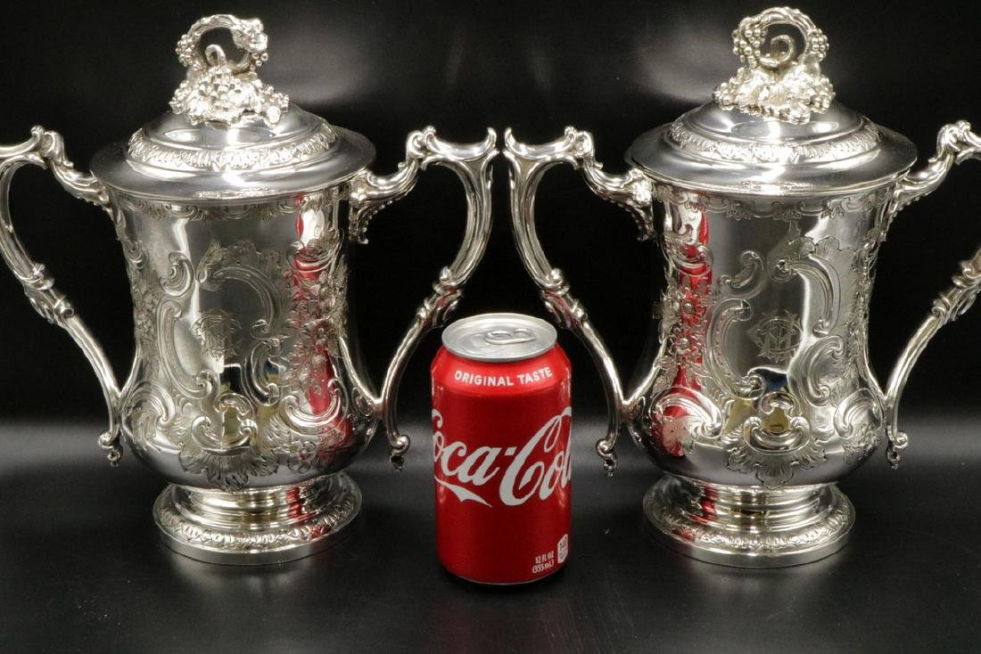 19th C. Elkington & Co. Silver Plated Covered Urns - 2
