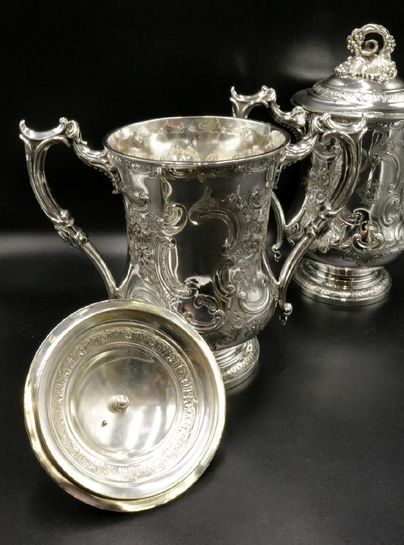 19th C. Elkington & Co. Silver Plated Covered Urns - 7
