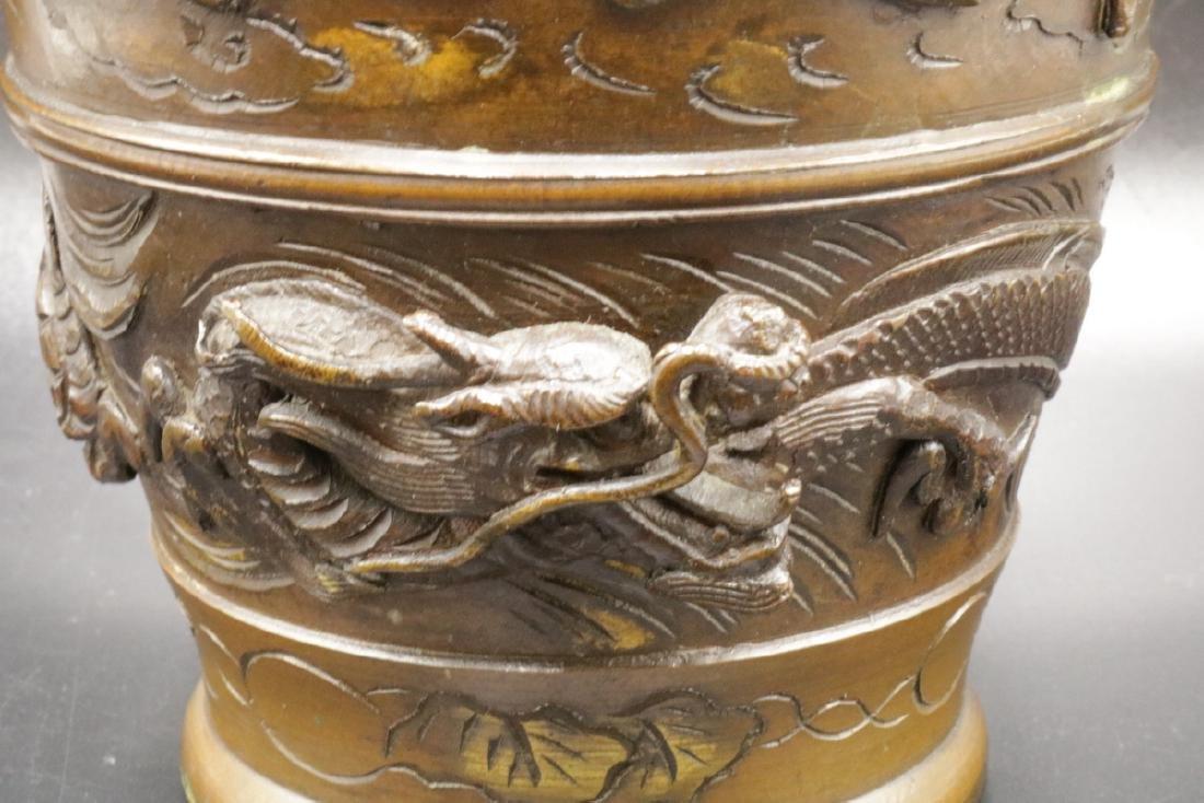 Antique Japanese Figural Bronze Vase - 2