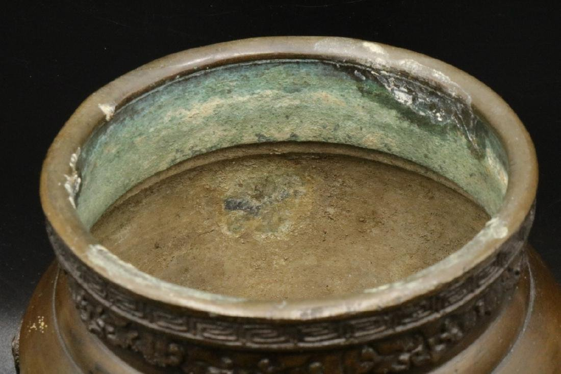 Antique Japanese Figural Bronze Vase - 4