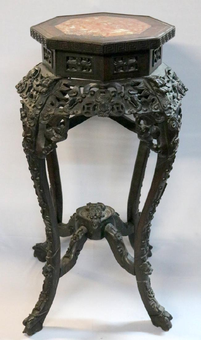 Late 19th C. Chinese Carved Teakwood Pedestal