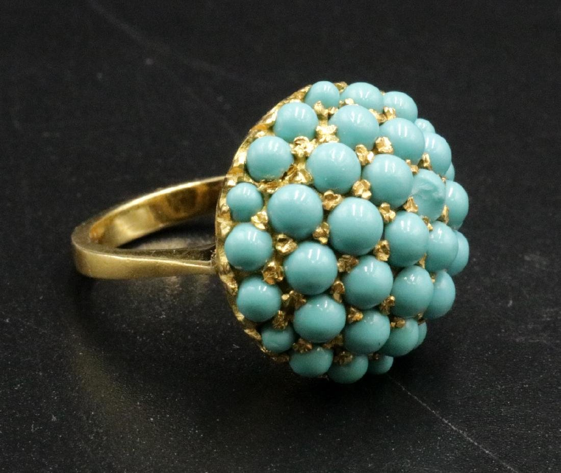 18Kt YG Turquoise Beaded Ring
