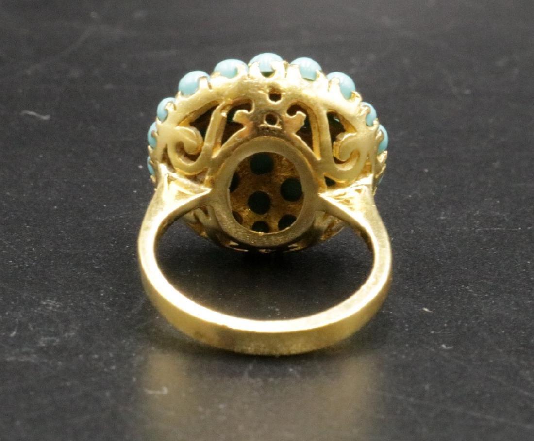 18Kt YG Turquoise Beaded Ring - 2