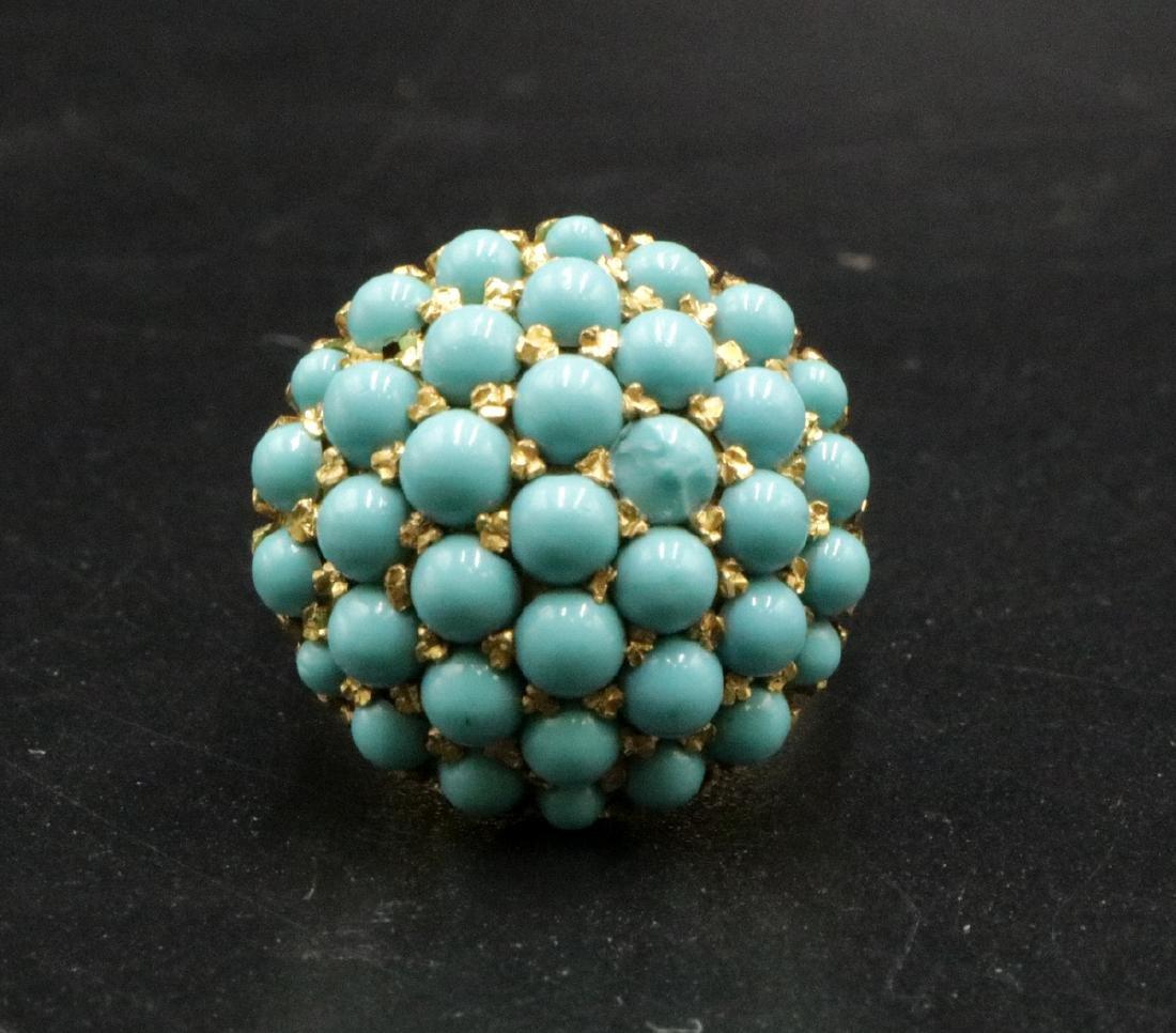 18Kt YG Turquoise Beaded Ring - 3