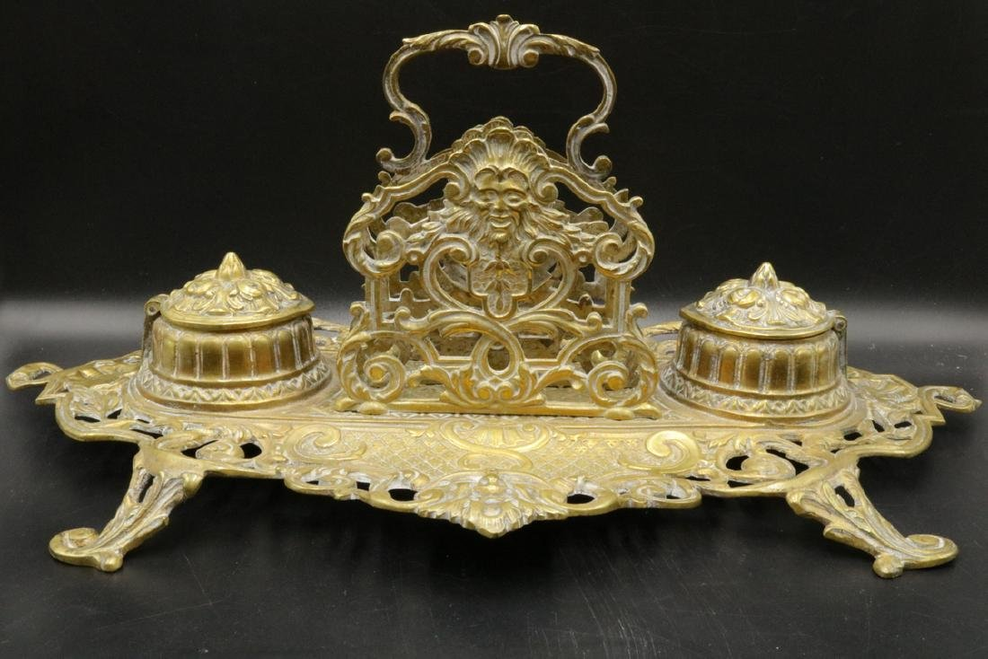 Antique French Brass Double Inkwell
