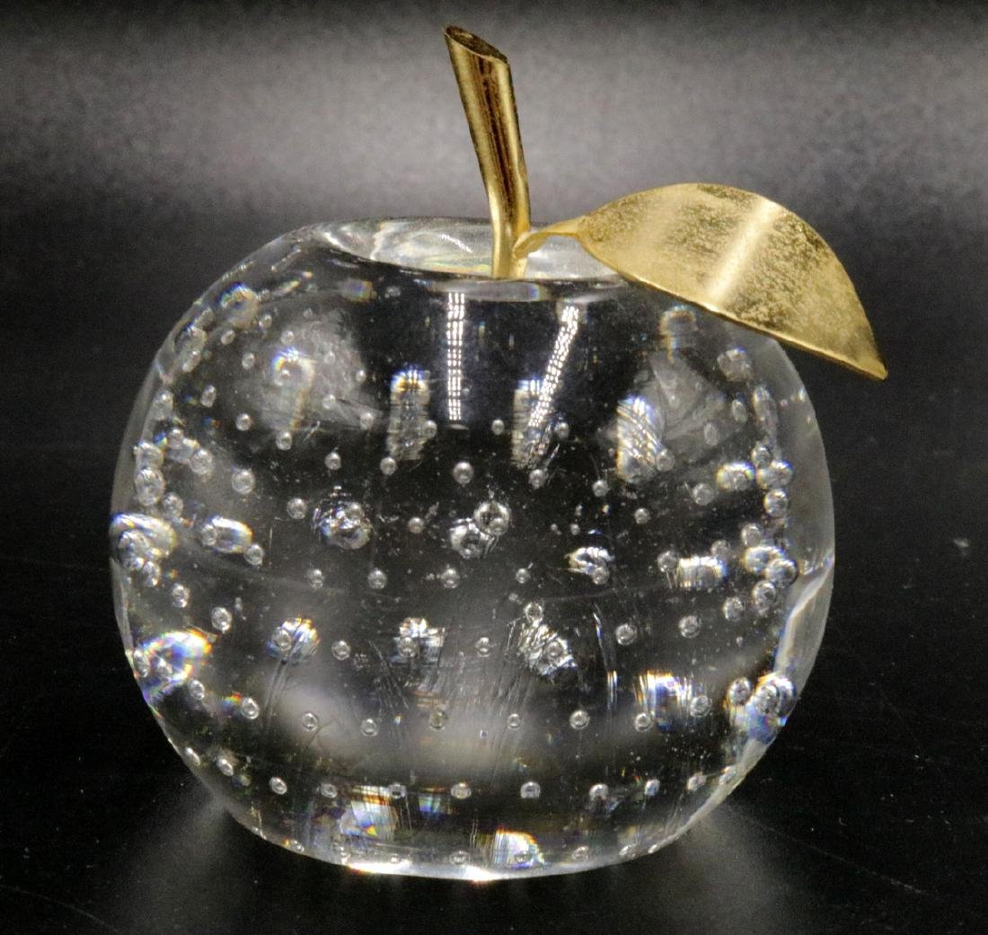 Art Glass Gold Tone Apple