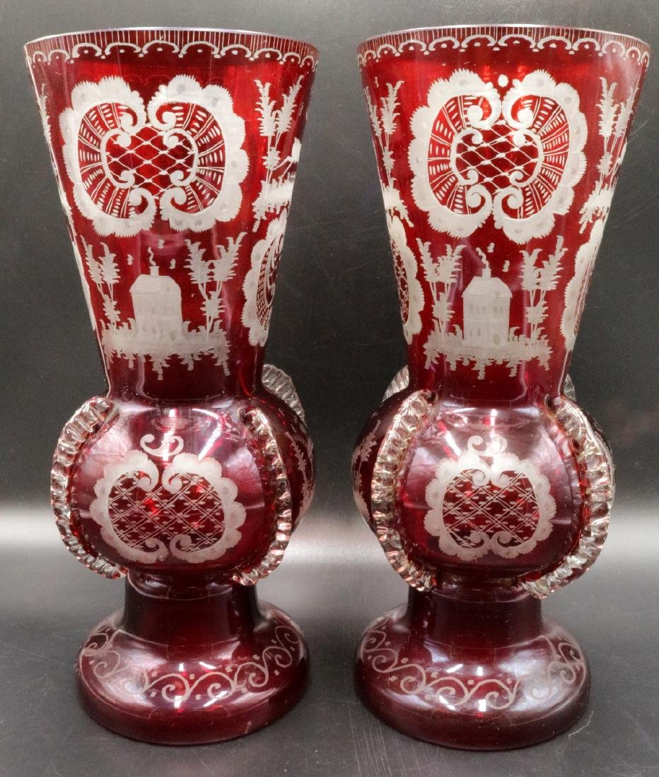 Antique Czech Clear & Ruby Glass Vases