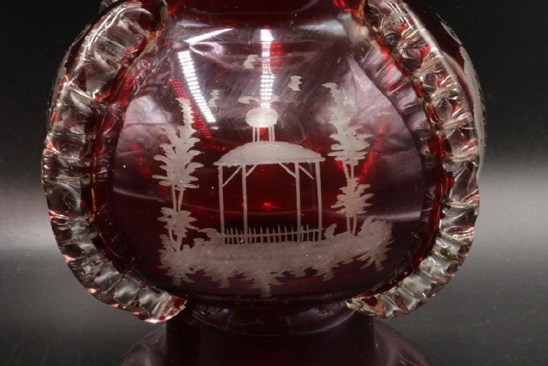Antique Czech Clear & Ruby Glass Vases - 4
