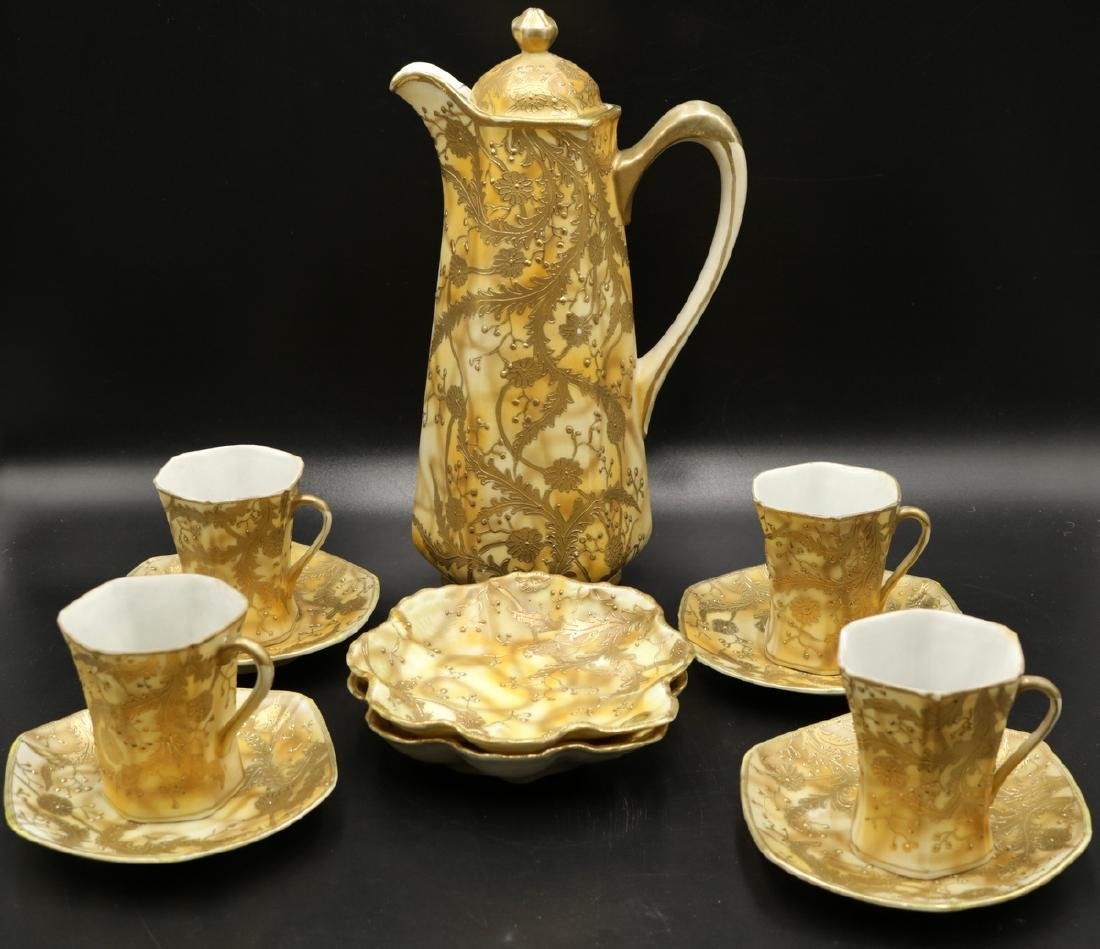 11 Pc. Nippon Hand Painted Porcelain Chocolate Set