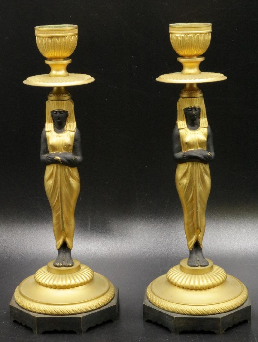 19th C. Austrian, Egyptian Revival Bronze Candlesticks