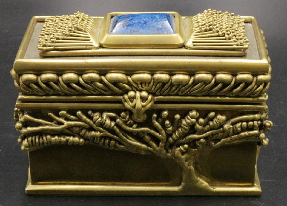 Possibly Pal Kepenyes Brutalist Brass & Lapis Box