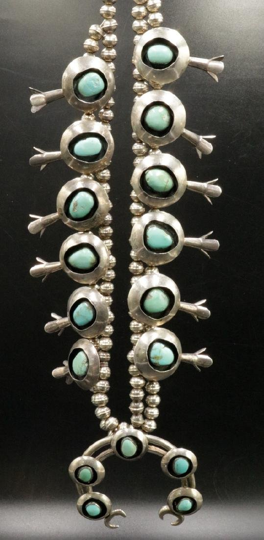 Navajo Sterling & Sleeping Beauty Turquoise Squash