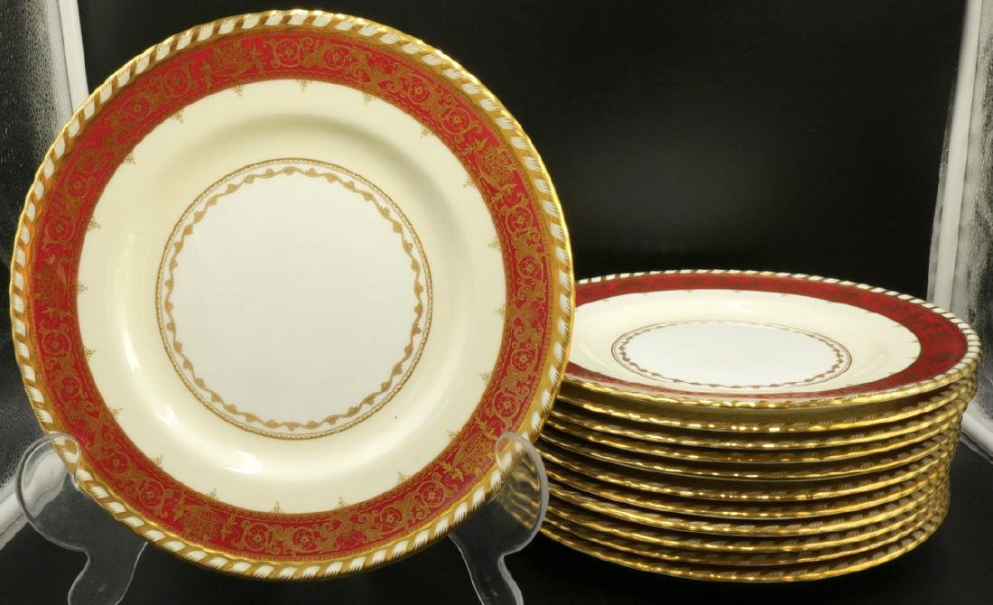 Antique Tiffany & Co. by Minton Burgundy & Gold Dinner