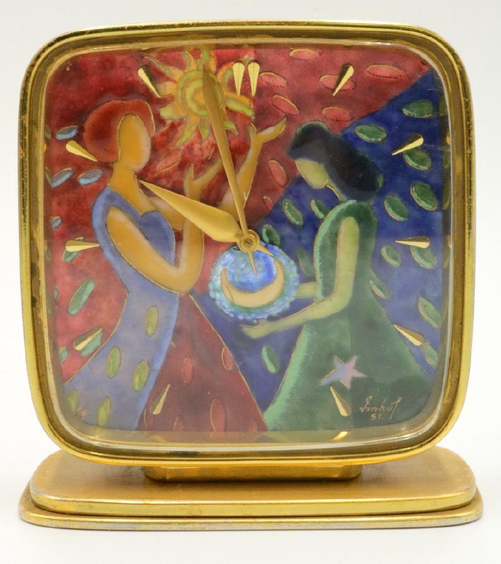 Vintage Arthur Imhof Enamel Bronze & Brass Desk Clock