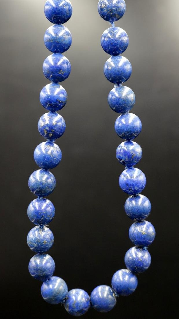Beautiful Beaded Lapis & Sterling Necklace