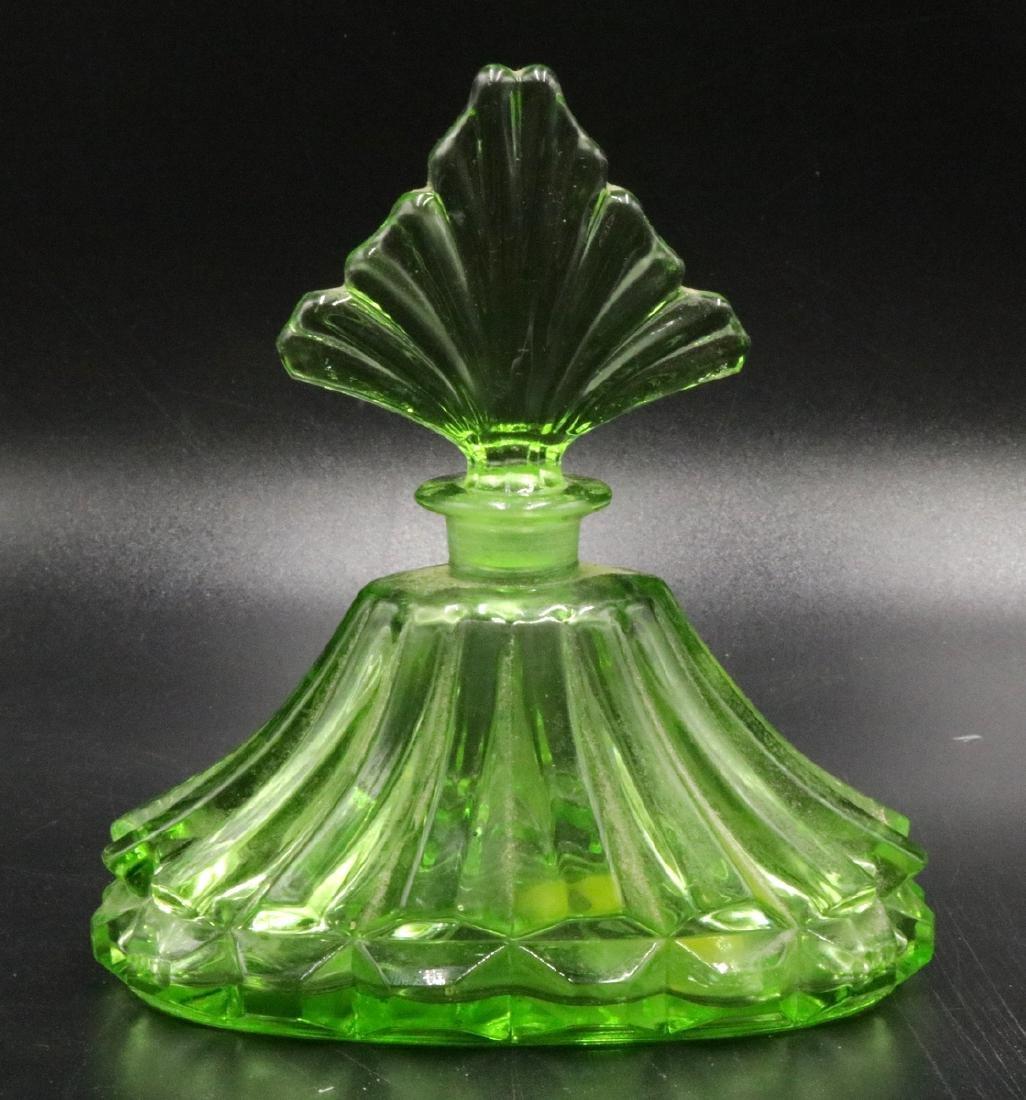 Vintage Green Glass Perfume Bottle