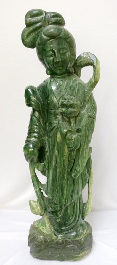 Large Chinese Carved Spinach Green Jade Quan Yin