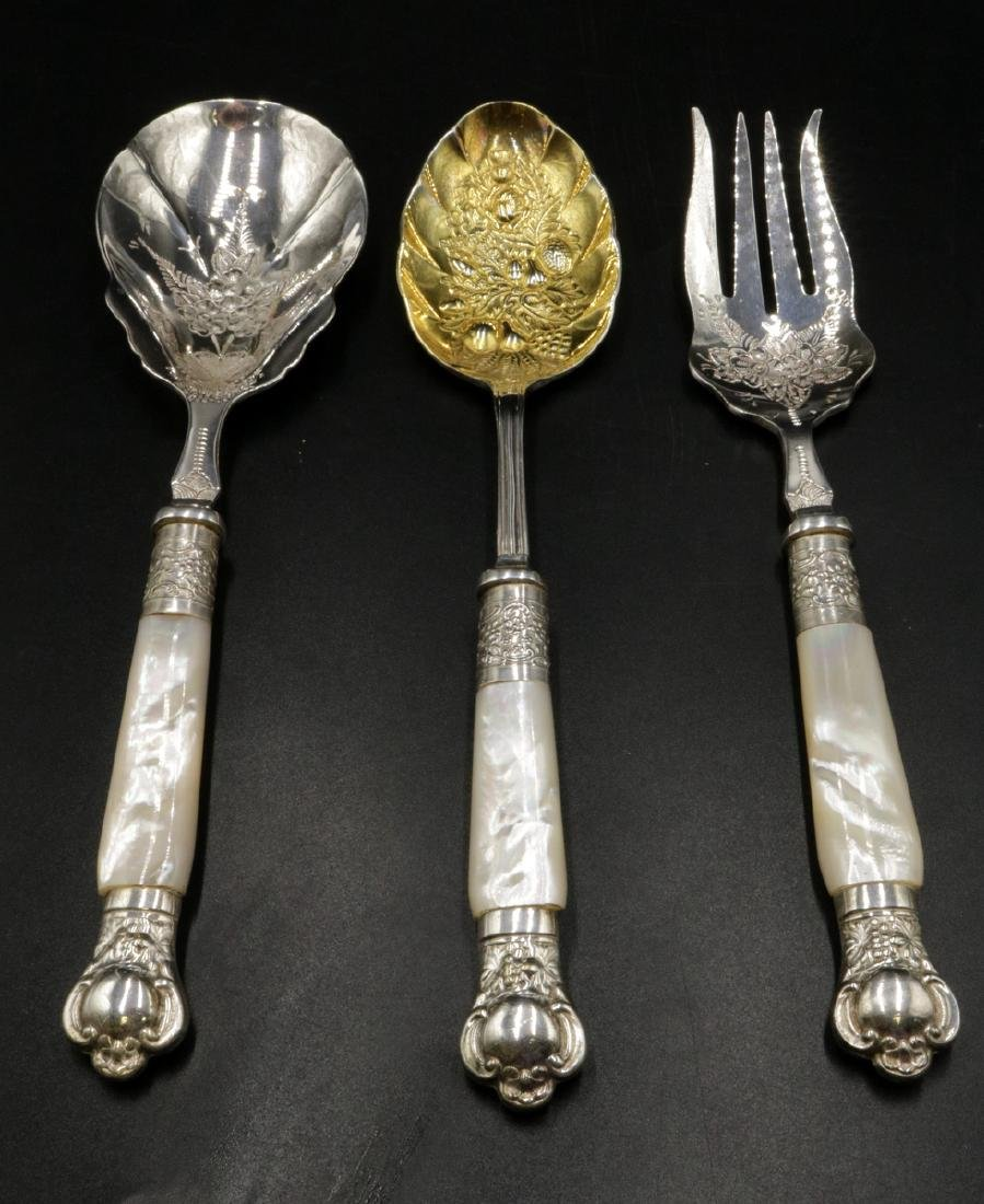 Three Sheffield Silver Plated & MOP Serving Pieces