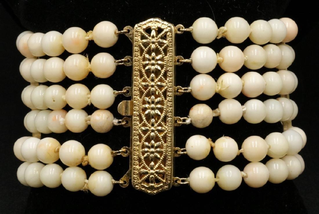 14Kt YG 6-Strand Angel Skin Coral Bracelet