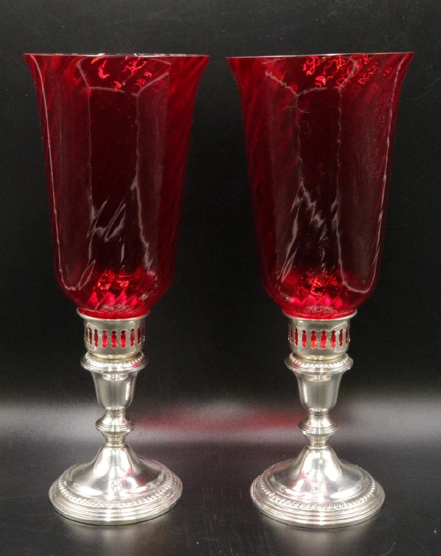 Pair of Empire Weighted Sterling & Ruby Glass Hurricane