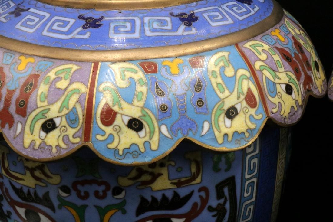 Pair of Vintage Chinese Cloisonne Vases - 4